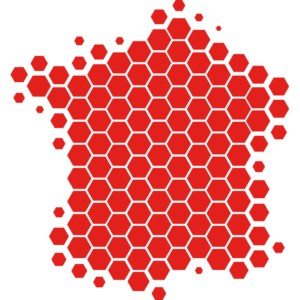 Red hexagons France map.